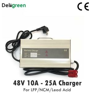 Image 1 - 48 в 10 А 15 а умное портативное зарядное устройство для электрического вилочного погрузчика, скутера для 16S 58,4 в Lifepo4 15S 63 в LiNCM свинцово кислотная батарея