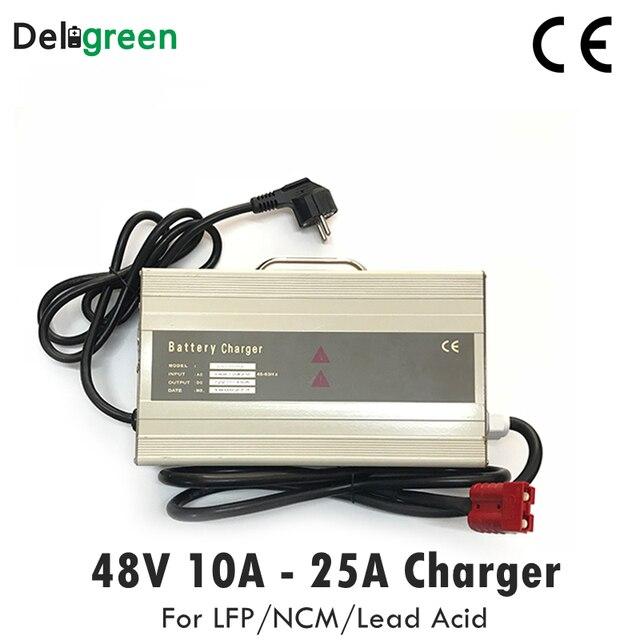 48 в 10 А 15 а умное портативное зарядное устройство для электрического вилочного погрузчика, скутера для 16S 58,4 в Lifepo4 15S 63 в LiNCM свинцово кислотная батарея