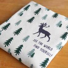 Christmas cotton and linen printed fabric Christmas tree elk cartoon printing handmade DIY pillowcase tablecloth accessories(China)