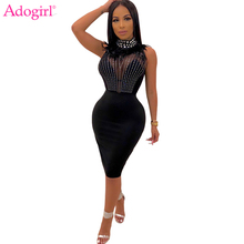 Adogirl Diamonds Sheer Mesh Patchwork Party Dress Feather Stand Collar Sleeveless Bodycon Midi Night Club Female Vestidos