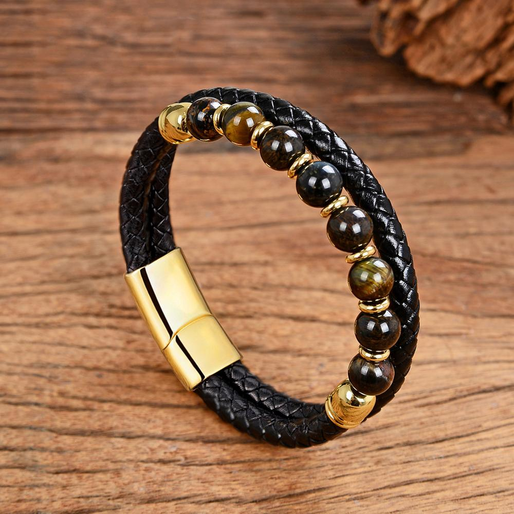 2020 New Fashion Stone Men Bracelet Round Natural Stone Genuine Leather Bracelets Stainless Steel Magnet Clasp Mens Jewelry Gift