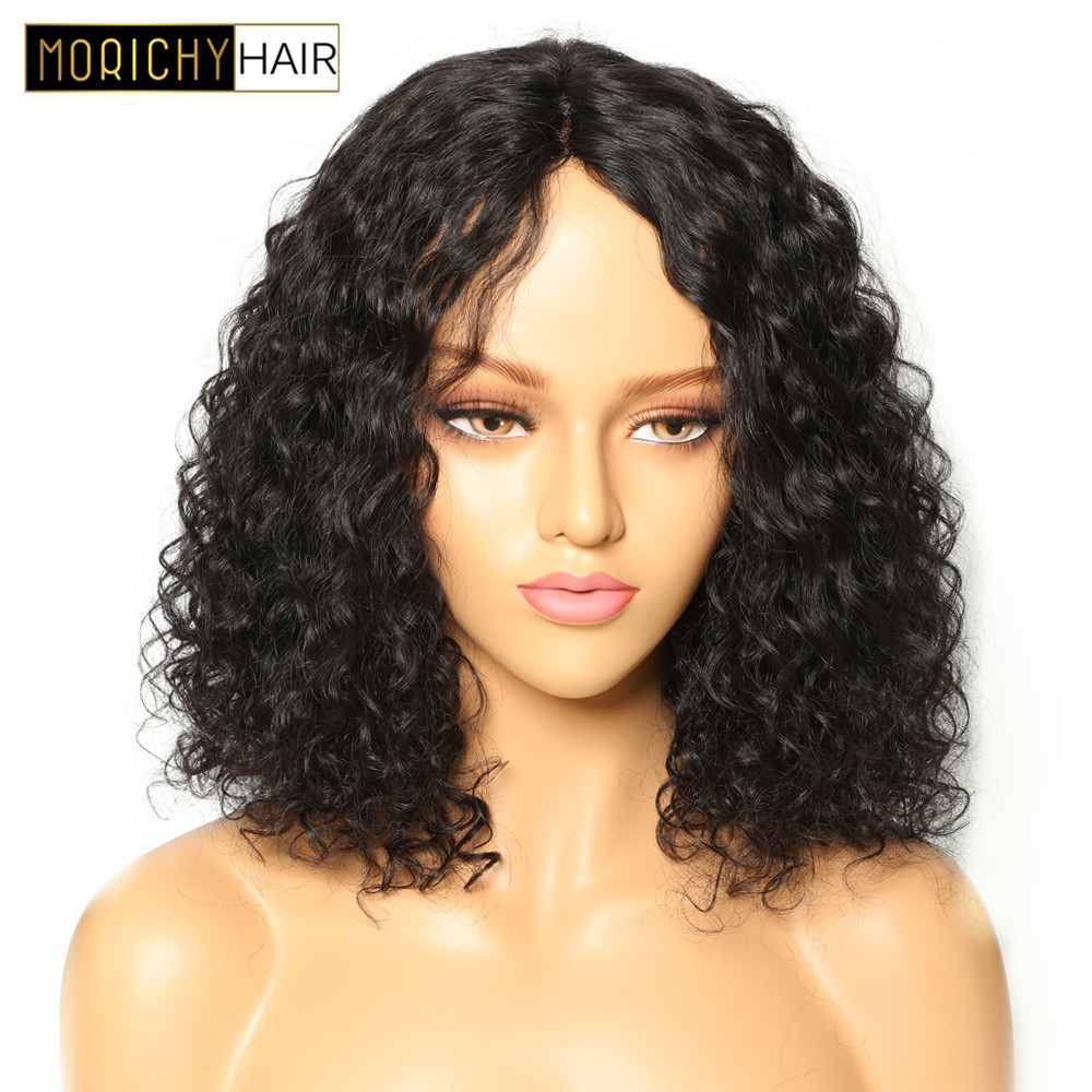 Curly Human Hair Wig For Black Women BOB Wig With Middle Lace Part Non Remy Brazilian Glueless Lace Wigs Natural Black