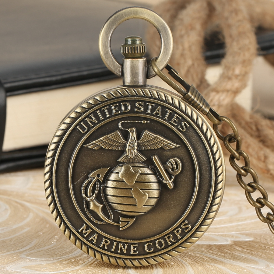 Bronze Retro United States Marine Corps Themed Pocket Watches Quartz Chain Necklace For Men Women Military Man Reloj De Madera