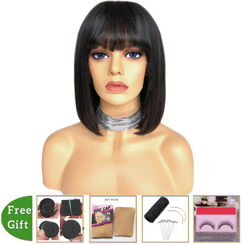 Peruvian straight human hair wigs pixie cut bob wig With Bangs short human hair wigs for black women machine made wig Non-Remy wig with bangs short bob wig brazilian straight human hair wigs with bangs pixie cut wig for black women natural color remy hair
