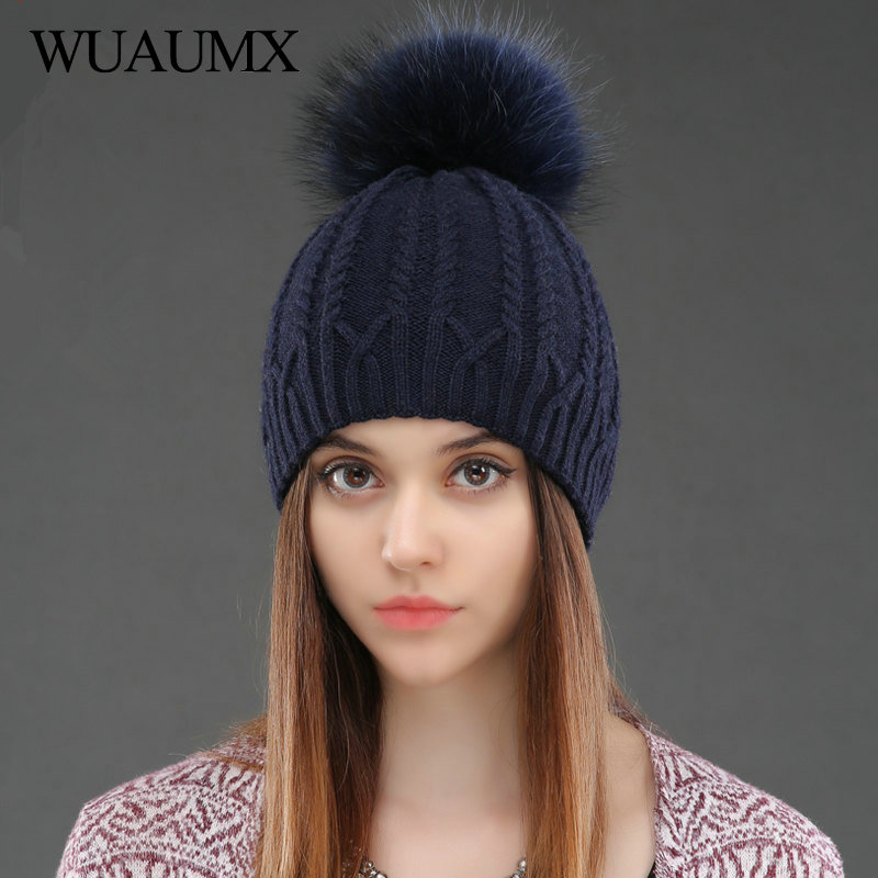 Wuaumx NEW Double Layer Knitted Wool Hat Natural Raccoon Fur Winter Hat For Women Female Pom Pom Hats Skullies Beanies Cap