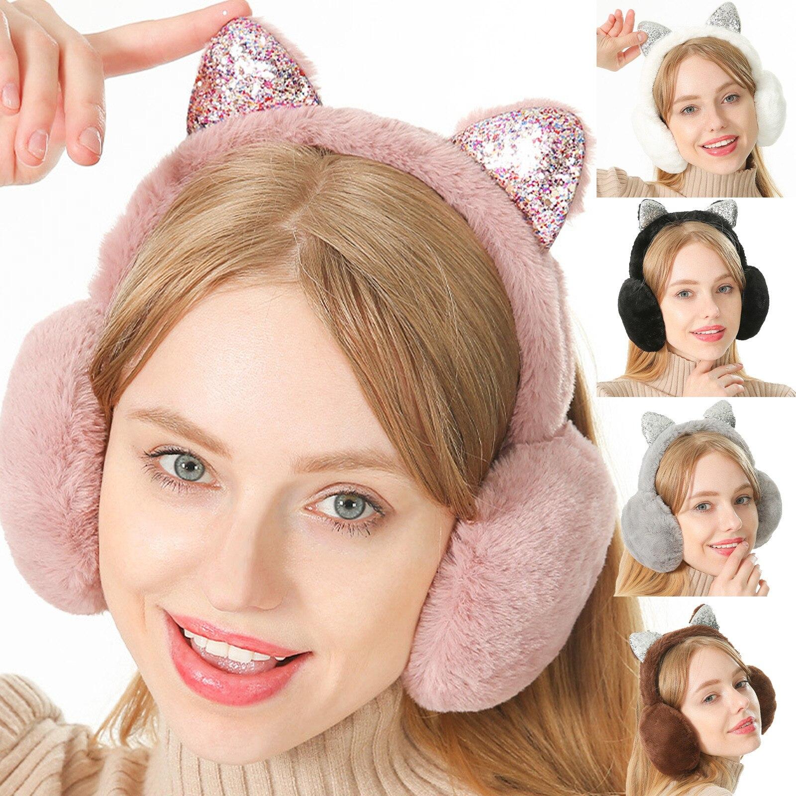 New Girls Cute Earmuffs Winter Sequinned Cartoon Plush Folding Ear Protectors Lady Windproof Warmers Earmuffs Orejeras Niña