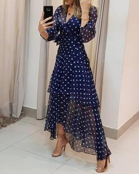 2020 Women Elegant Polka dot Print Layered Maxi Dress Female Stylish Long Party V neck Lace-up Ruffles