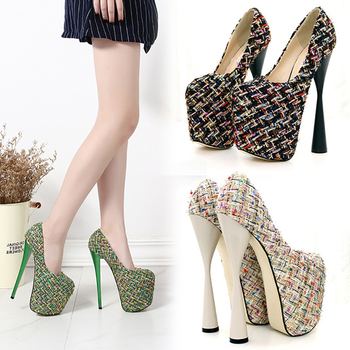 19CM High heeled shoes Super Super Spool heels Woollen yarn 7 inches Thick platform Shallow Novelty Pumps Fashion Party Dress