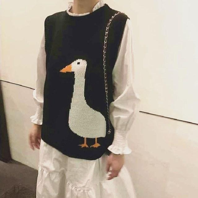 Women Knitted Sweater Vest 2020 Autumn Winter Korean Style Vintage Cute Goose Pattern Sleeveless Pullover Jumper Waistcoat T444 1