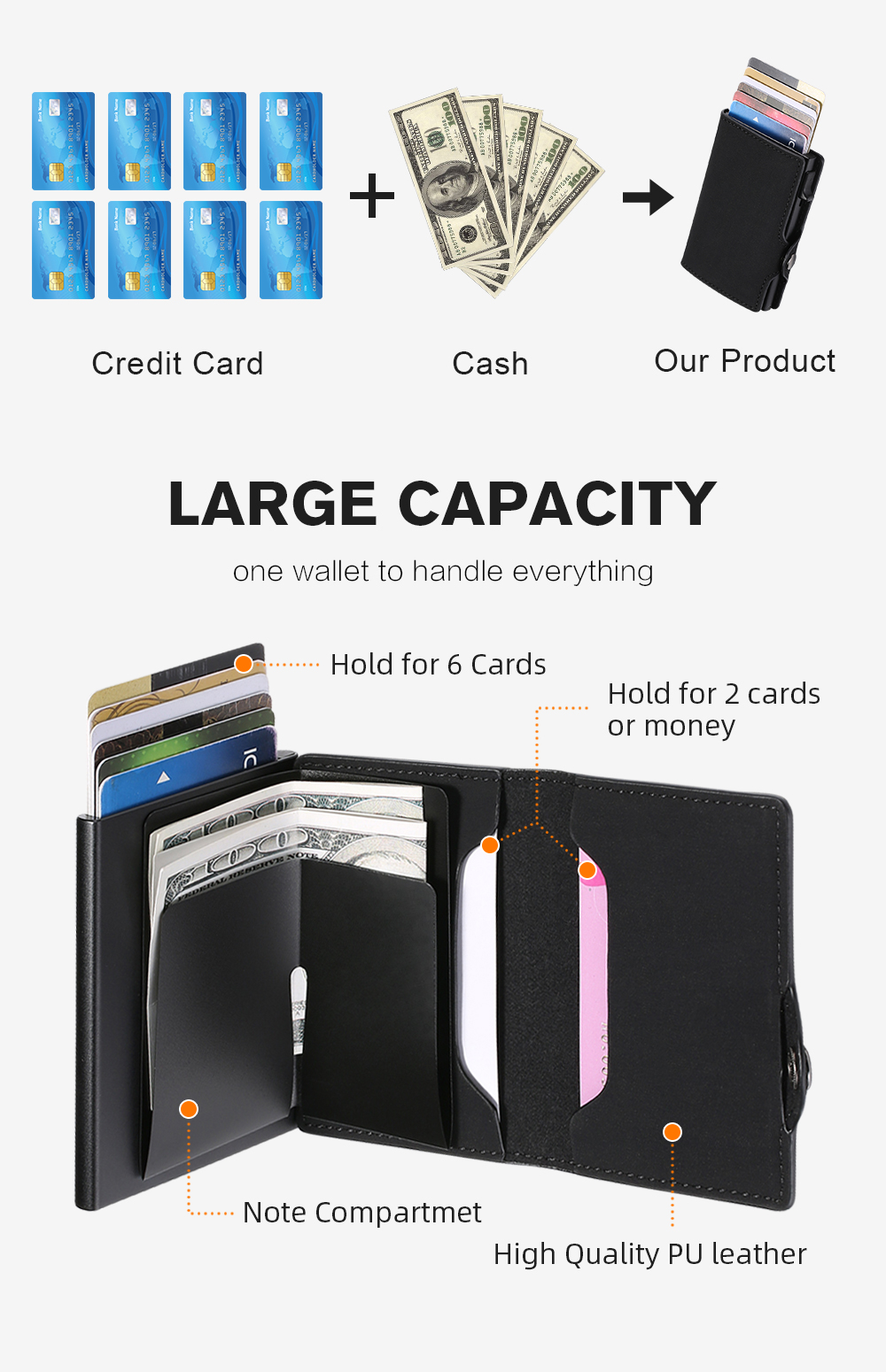 He1f3816d657543928042979de494f774E - BISI GORO Single Box Card Holder PU Leather Card Wallet New Men RFID Blocking Aluminum Smart Multifunction Slim Wallet Card Case