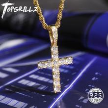TOPGRILLZ  Men Women AAA Zircon Micro Cross Pendant Necklace Authentic 100% 925 Sterling Silver CZ Hip Hop Jewelry For Gift