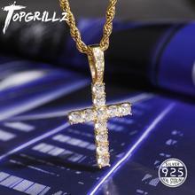 TOPGRILLZ mężczyźni kobiety AAA cyrkon Micro krzyż naszyjnik autentyczne 100% 925 srebro CZ Hip Hop biżuteria na prezent