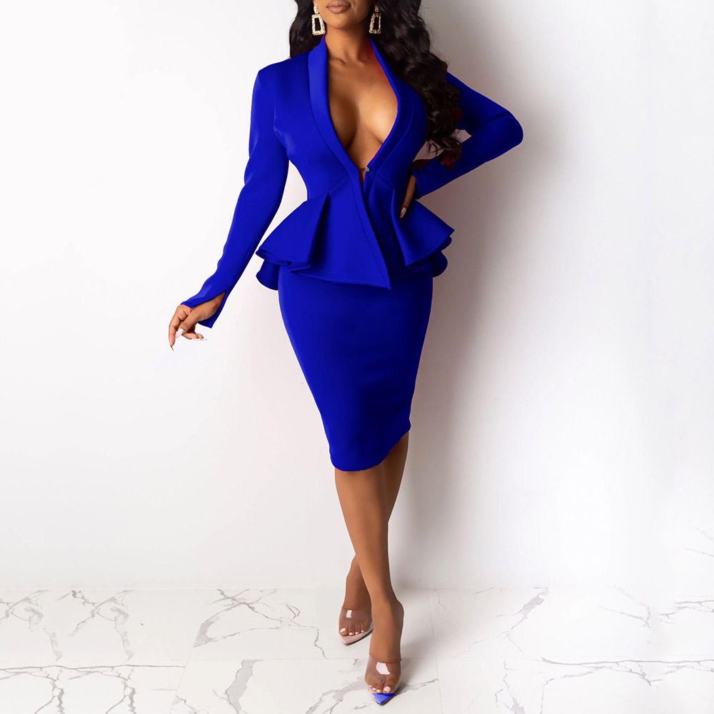 <font><b>Sexy</b></font> Deep V Neck Two Piece Set Women <font><b>Bodycon</b></font> <font><b>Blue</b></font> Coctail Party <font><b>Dress</b></font> Office Ladies Ruffle Long Sleeve Tops and Skirt Suit Sets image