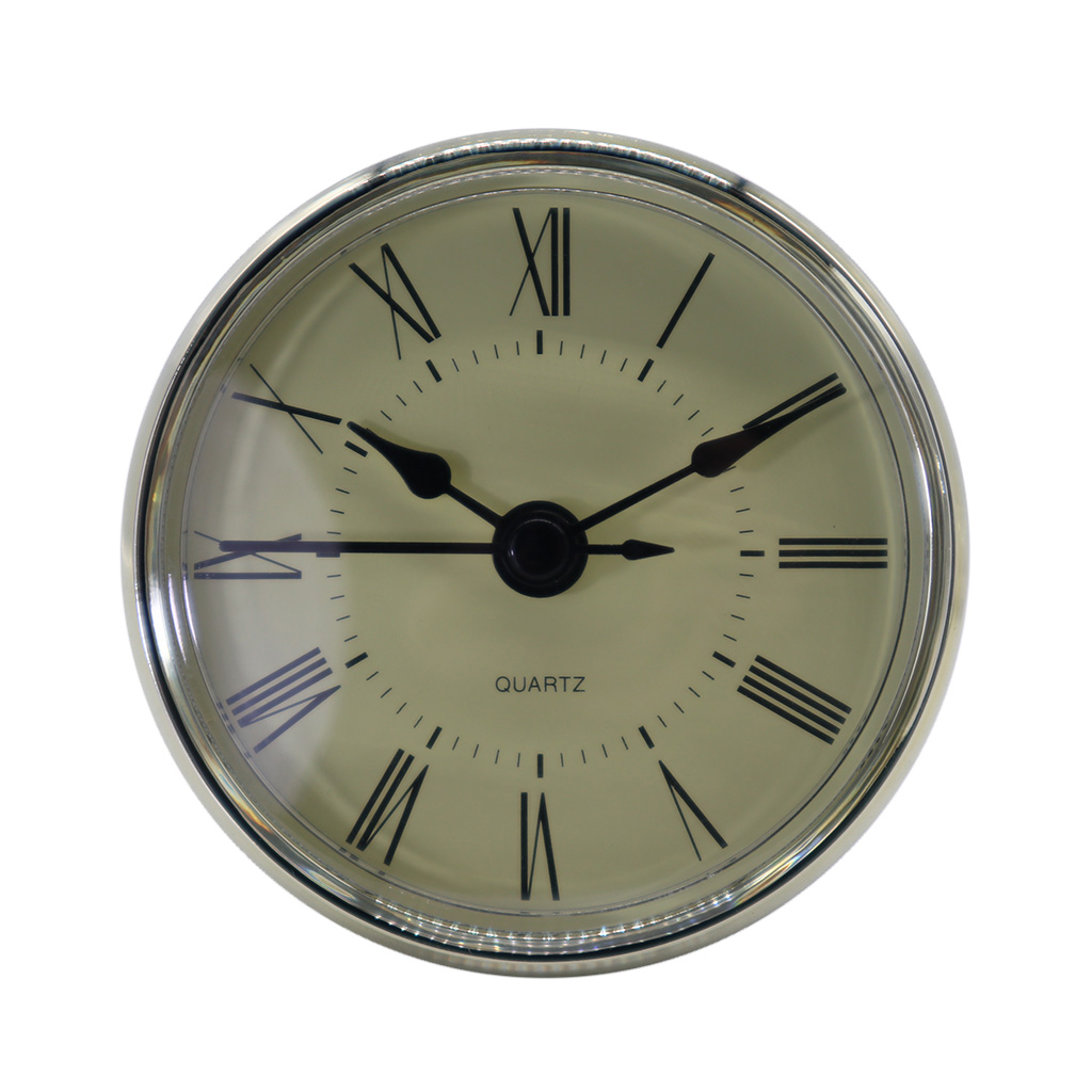 70mm Dial Black Roman Numeral Quartz Clock Insert Movement With Silver Color Trim Plastic Clock Repair Tools