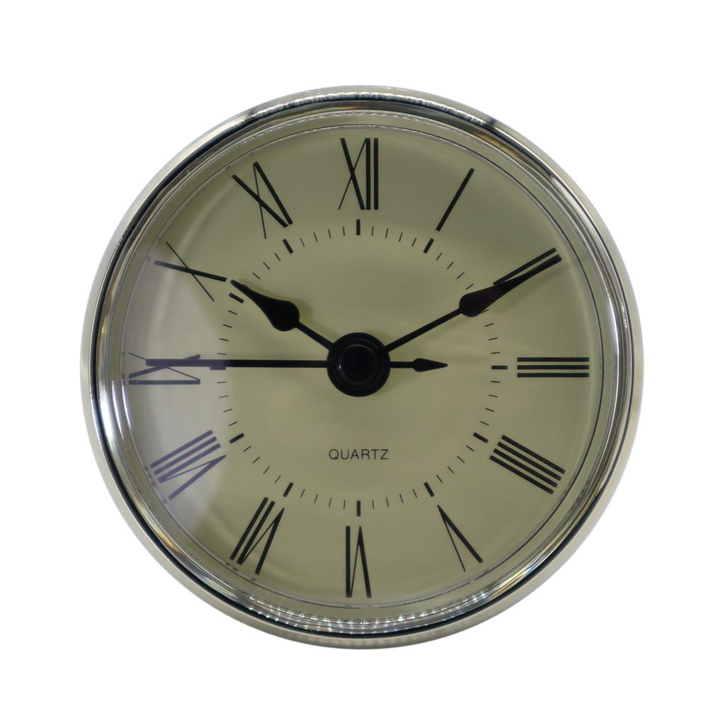 70mm Dial Black Roman Numeral Quartz Clock Insert Movement With Silver Color Trim Plastic Clock Repair Tools