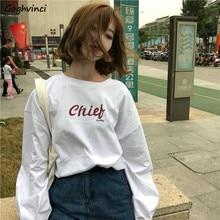 Langarm T-shirts Frühling Frauen Oansatz Gedruckt Koreanische Lose 2XL Harajuku Alle-spiel Einfache Studenten Casual BF Frauen Alle-spiel