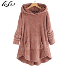2019 Women Autumn Sweatshirts Hooded Fleece Casual Hoodies Fluffy Pullover Front Pocket Long Sleeve Jumper Robe Tops