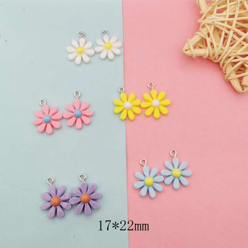 20Pcs Kawaii Resin Little Daisy Sun Flower Charms Pendants For DIY Decoration Earrings Key Chains Fashion Jewelry Accessories 2