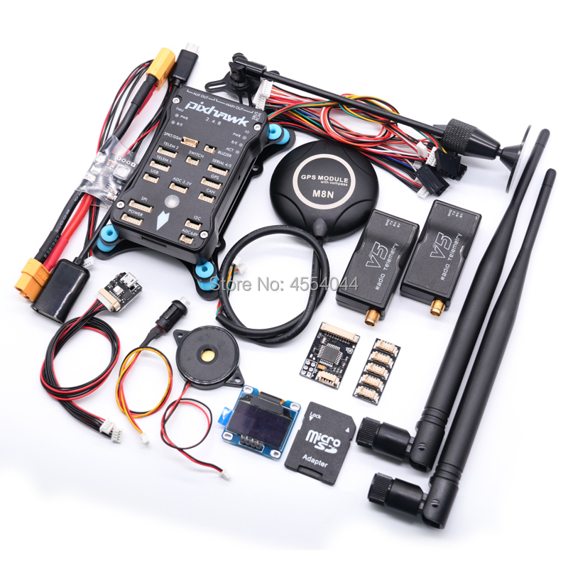 Pixhawk 2.4.8 PX4 PIX 32 Bit Flight Controller+M8N GPS+ 433/915Mhz 100/500mw Radio Telemetry+Safety Switch+Buzzer+rgb+I2C+ 4G SD