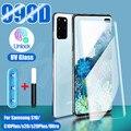 УФ-протектор экрана из закаленного стекла для Samsung Galaxy S9 S8 S10 S20 Plus, Note 8, 9, 10, полная защита для гидроциклонного экрана для Samsung S8 S7 кромки стекл...