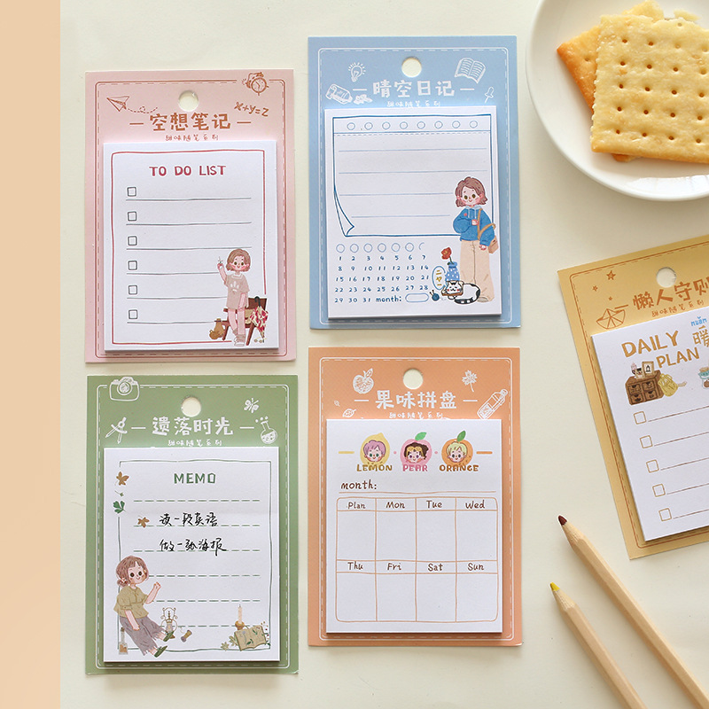 1set/lot Memo Pads Sticky Notes Sweet Essay Paper Diary Scrapbooking Stickers Office School Stationery Notepad