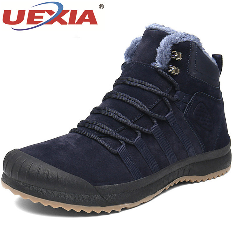 UEXIA Anti collision Suede Leather Boots Men Winter Boots With Fur Snow Outdoor Sport Walking Keep Warm Plush Fur Men Footwear