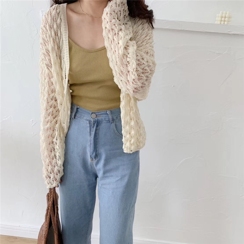Alien Kitty Korea Fresh Hollow Out Cardigans Casual Simple Free Thin Lazy Style Ice Silk Loose Knitted Short Sweaters 4  Types