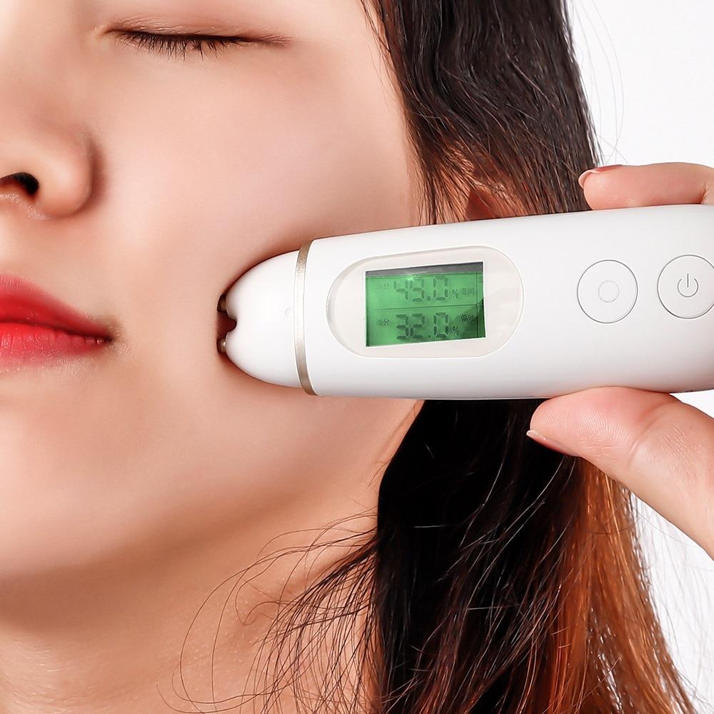 Skin Moisture Tester Digital Display Facial Skin Moisture Oil Analyzer Tools Fluorescent Agent Light USB