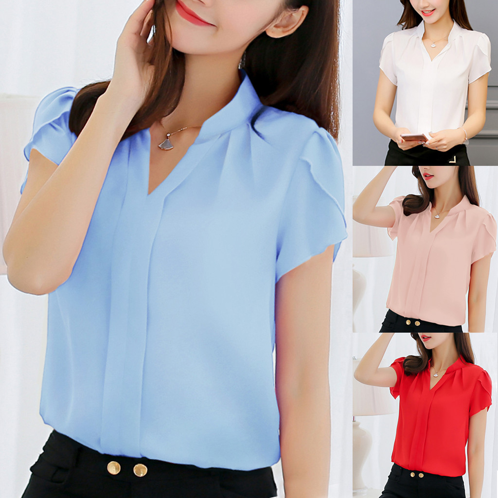 Blouse Women Summer Work Office V Neck Short Sleeve Solid Chiffon Blusas Plus Shirt Top