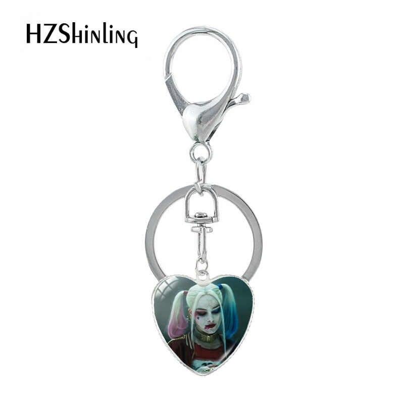 ¡Novedad de 2019! Llavero de corazón Harley Quinn Suicide Squad, Souvenirs, colgantes de cristal novedosos, llavero para los mejores regalos, joyería