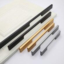 Минималистичные ручки для гардероба, золотистые удлиненные, однотонные, черные и белые с узором, матовые, черные, из алюминиевого сплава