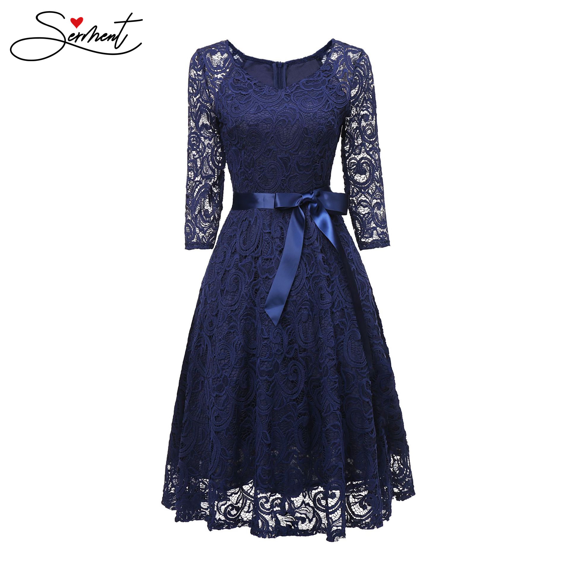 SERMENT Simple 2019 Autumn New European And American Women's Round Neck Long-sleeved Lace Evening Dress Suitable For Work