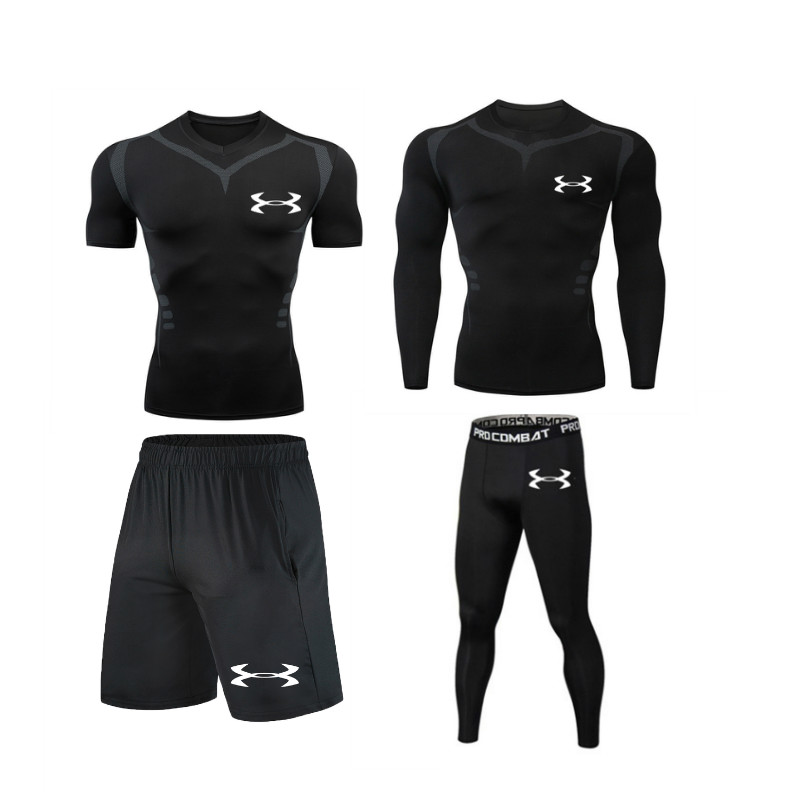 High Quality Men Sports Suit Compression Tshirt Tights Running Jogging Gym Fitness Training MMA Rashguard Men Sportswear Dry Fit