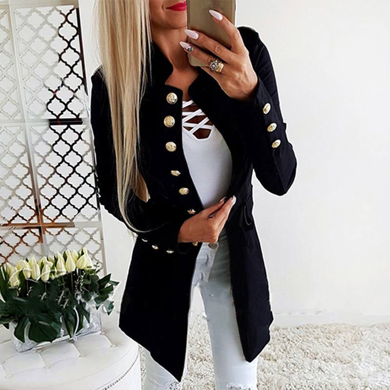 2019 Fashion Women Blazer Office Lady Slim Blazers Casual Long Sleeve Jackets Coats Outwear Stand Collar Formal Suits Plus Size