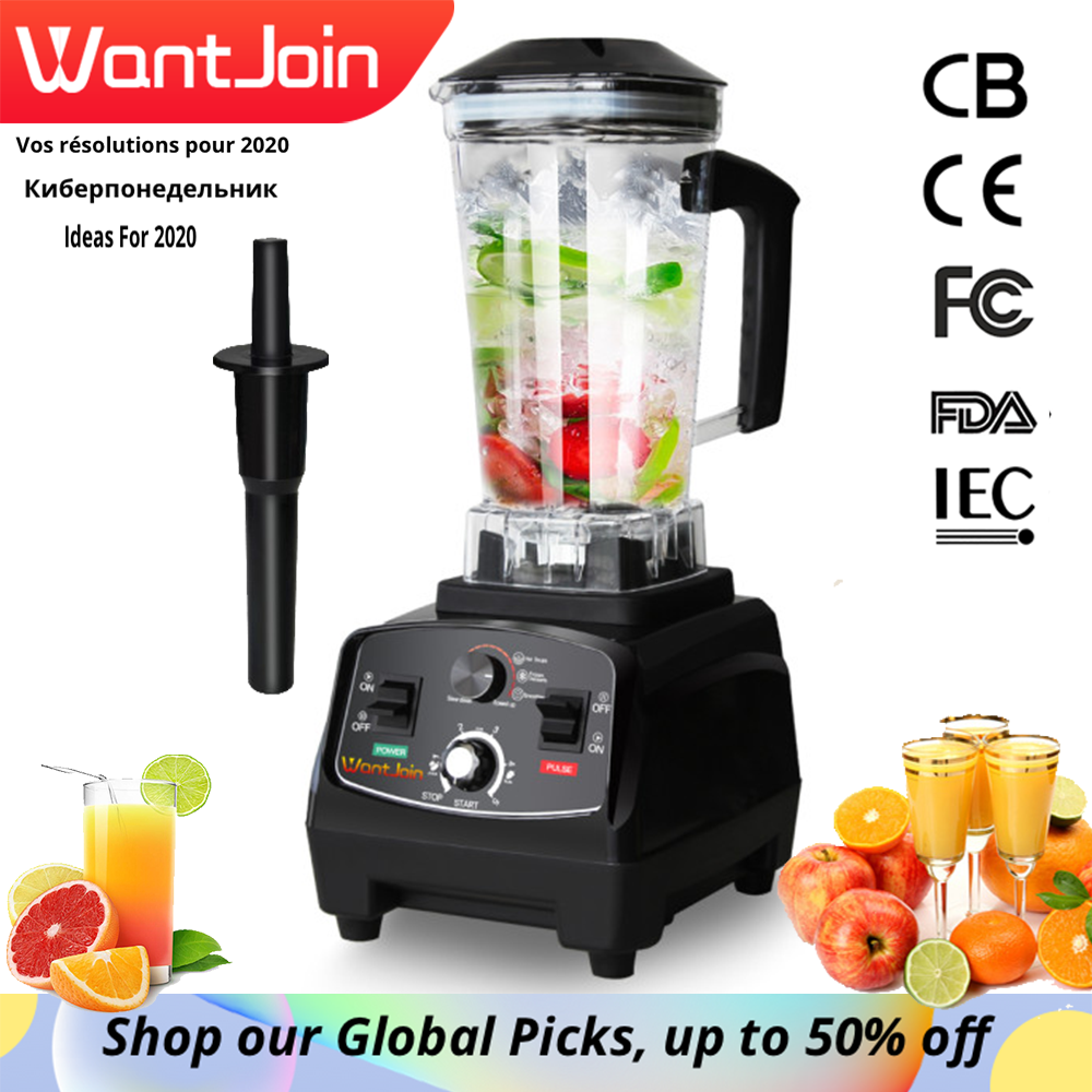 WantJoin Heavy Duty Automatic Grade Timer Blender Mixer Fruit Juicer Machine Milk Shake CE  Food Processor Ice Crusher Smoothies