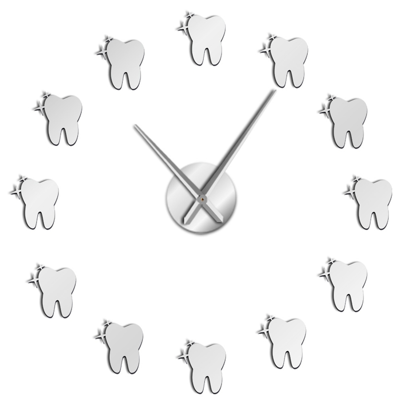 12 Teeth Sticker Dental Tooth Wall Art Modern Wall Clock Living Room Decorative Wall Watch Nurse Ornament Hygienist Dentist Gift