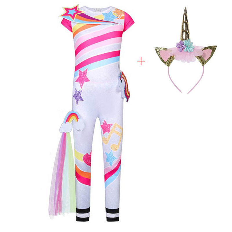 Girls Unicorn Cosplay Costume Kids Rainbow Jumpsuits Birthday Party Clothes Children Halloween Carnival Unicorn Onesies For Girl