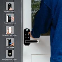 Cerradura electrónica Wifi con aplicación Tuya, control remoto de puerta, huella dactilar biométrica, tarjeta inteligente, contraseña, desbloqueo de llaves
