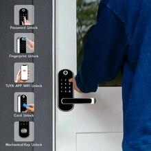 Wifi Elektronische Deurslot Met Tuya App Op Afstand/Deurbel/Biometrische Vingerafdruk/Smart Card/Wachtwoord/ key Unlock