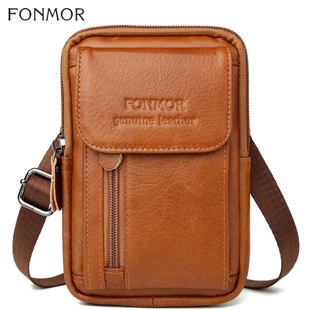 Fonmor Casual Men Genuine Leather Waist Pack Bag Mini Phone Pockets Case Coin Purse Male Fanny Money Bags Shoulder Messenger Bag