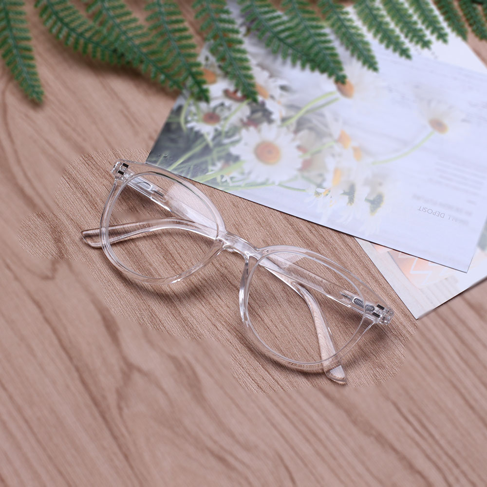 HENOTIN Transparent White Fashion Reader Spring Unisex Spring Hinge Round Reading Glasses Diopter 1.02.0