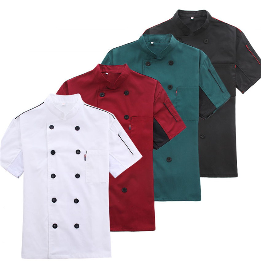 Men Chef Jacket Catering Tunic Summer Work Wear Clothes Hat Restaurant Uniforrms Shirts Coat Botton Women Kitchen Cook Clothing