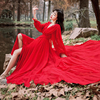 Luxury Red & White Chiffon Long Dress For Elegant Lady Gorgeous V-Neck Lanter Sleeve Floor Length Bohimian Beach Dresses Vestido 1