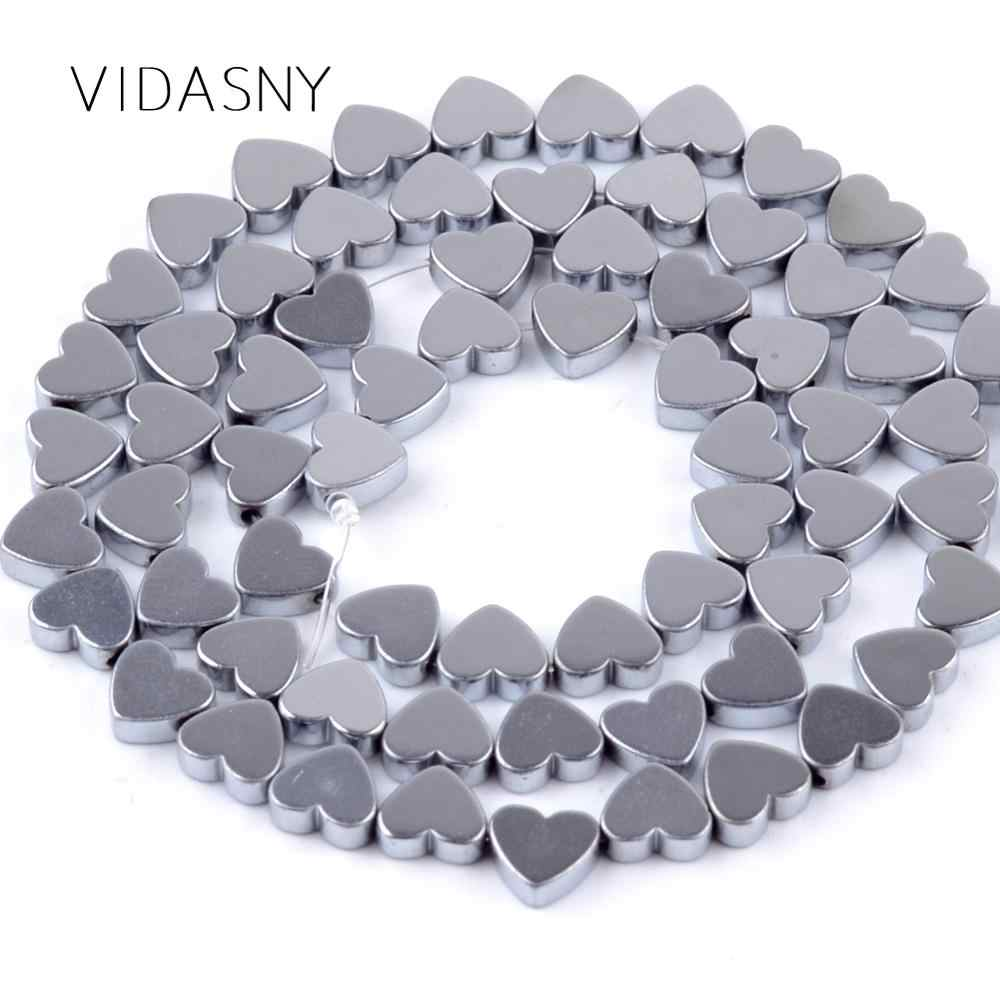 Natural Mineral Gem Silver Heart Hematite Stone Beads For Needlework Jewelry Making 6 8mm Loose Beads Diy Necklace Bracelet 15''