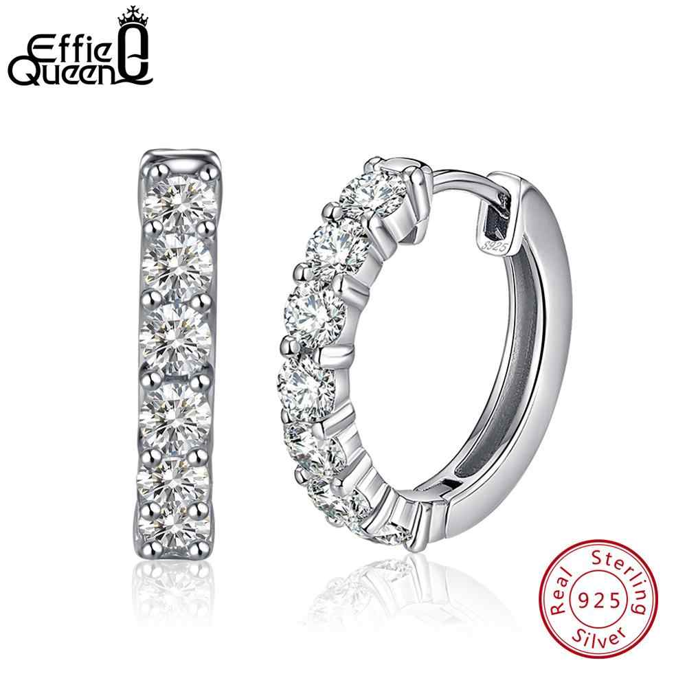 Effie Queen Real 925 Sterling Silver Women Hoop Earring Small Circles AAA Dazzling Prong Setting Female Wedding Jewelry TSE82