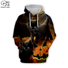 Black cat print Men 3d Hoodies terror Halloween Christmas pumpkin skull Sweatshirt tshirt zipper pullover women unisex Tracksuit