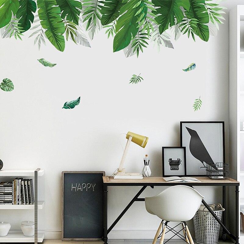 Декоративные наклейки на стену с зелеными листьями для украшения