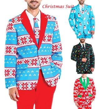 Vadim Gothic Men Christmas Casual Blazer Suit Funny Blazer Party Suit Long Sleeve Slim Fitness Snowflake Print Male Xmas Blazer