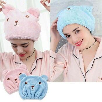 HOT Microfiber Solid Quickly Dry Hair Hat Turban Women Girls Ladies Cap Bathing Drying Towel Head Wrap Cat Ears Pattern