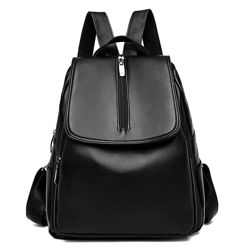 Fashion Backpacks Women High-quality  PU Leather Backpack Female Back Pack Black Backpacks For Teen Girls Bagpack Woman 2020 New